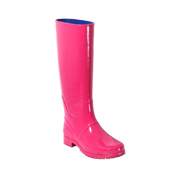 亮粉印花高筒女士雨靴
