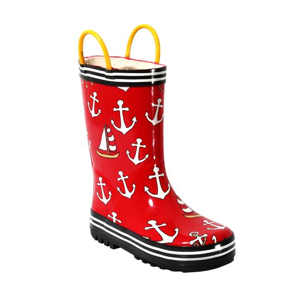 可爱帆船印花雨鞋