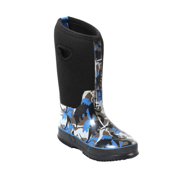 男童印花保暖雨靴