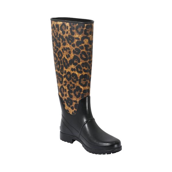 女士豹纹印花橡胶靴