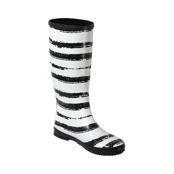 黑白印花女士橡胶雨靴