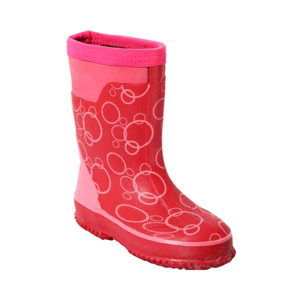 女孩粉色印花短筒雨靴