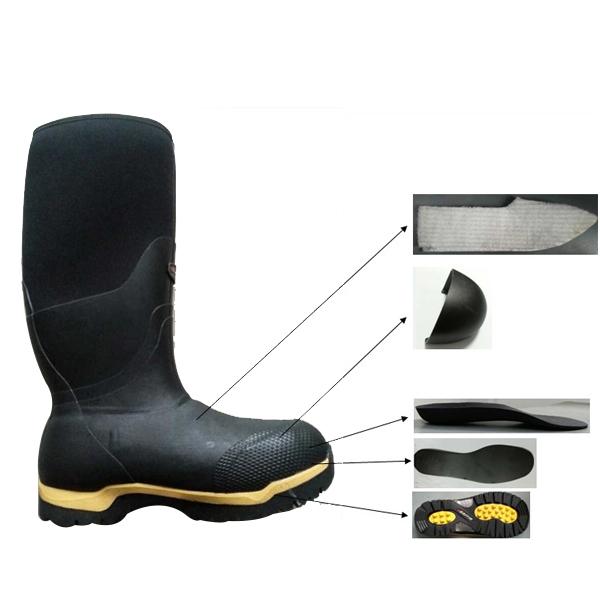 橡胶安全靴男士钢脚趾板